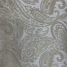 Портьерная жаккардовая ткань с рисунком «восточные огурцы» в бежевых и ванильных оттенках