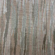 Портьерная жаккардовая ткань в вертикальную абстрактную полоску в тёмно-пудровых и бежево-серых оттенках
