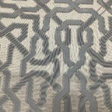 Портьерная жаккардовая ткань с геометрическим орнаментом в серебристо-дымчатых оттенках