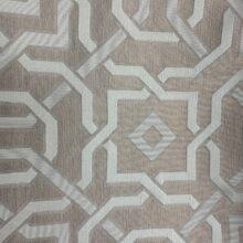 Портьерная жаккардовая ткань с геометрическим орнаментом в тёмно-пудровых и серебристых оттенках