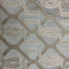 Портьерная жаккардовая ткань с геометрическим рисунком в бледно-голубых и бежевых оттенках