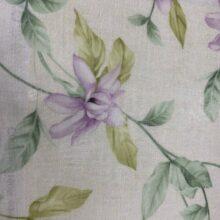 Тюлевая ткань под лён с растительным орнаментом