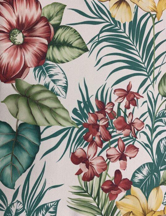 Портьерная ткань, рогожка из хлопка с растительным орнаментом
